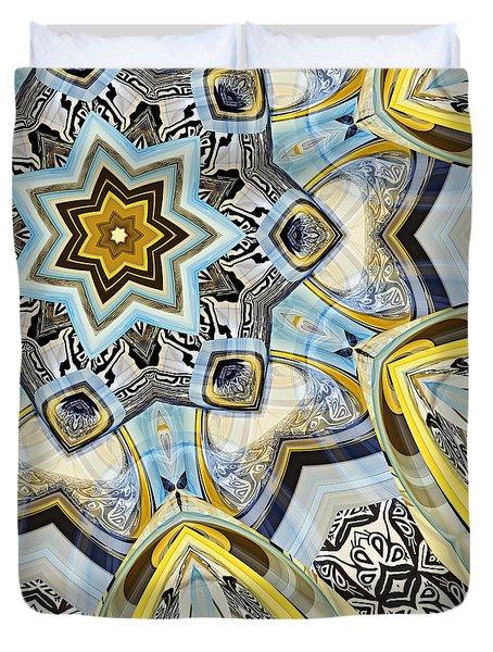 Duvet Cover featuring the digital art Escher Glass Kaleido Abstract #2 by Peter J Sucy