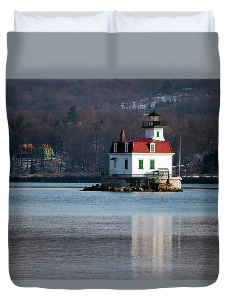 Esopus Lighthouse In December Duvet Cover by Jeff Severson