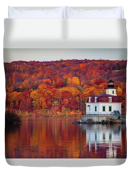 Esopus Lighthouse In Late Fall #1 Duvet Cover by Jeff Severson