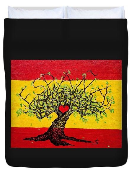 Duvet Cover featuring the drawing Espana Love Tree by Aaron Bombalicki