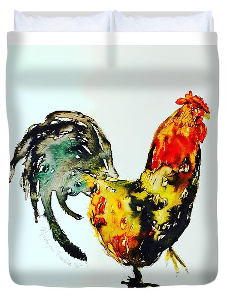 Duvet Cover featuring the painting Essence Of Rooster by Monique Faella