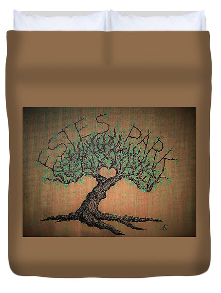 Duvet Cover featuring the drawing Estes Park Love Tree by Aaron Bombalicki