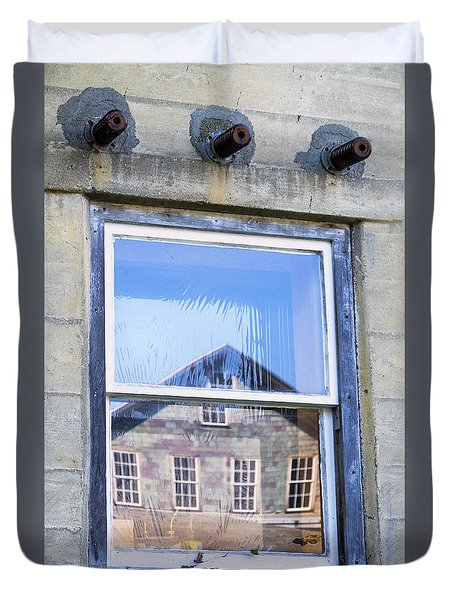 Duvet Cover featuring the photograph Estey Window Reflection by Tom Singleton