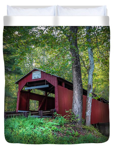 Duvet Cover featuring the photograph Esther Furnace Bridge by Marvin Spates