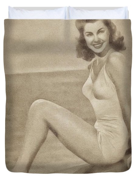 Esther Williams, Vintage Actress And Pinup By John Springfield Duvet Cover