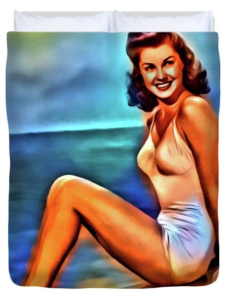 Esther Williams, Vintage Actress. Digital Art By Mb Duvet Cover