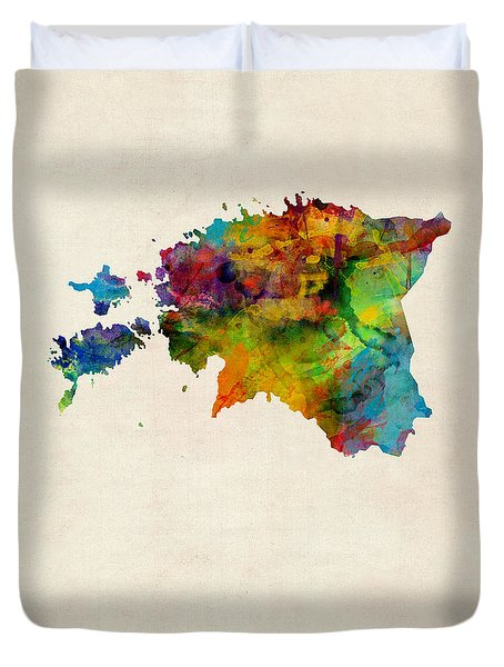 Estonia Watercolor Map Duvet Cover
