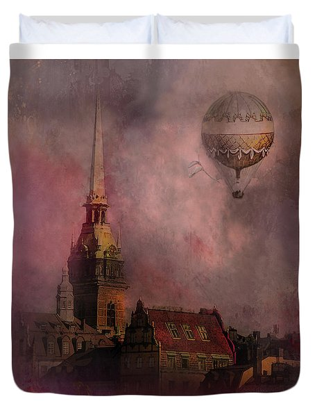 Duvet Cover featuring the digital art Stockholm Church With Flying Balloon by Jeff Burgess