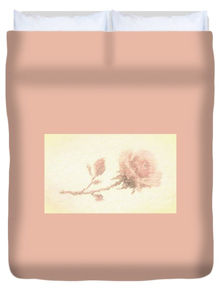 Duvet Cover featuring the photograph Etched Red Rose by Linda Phelps