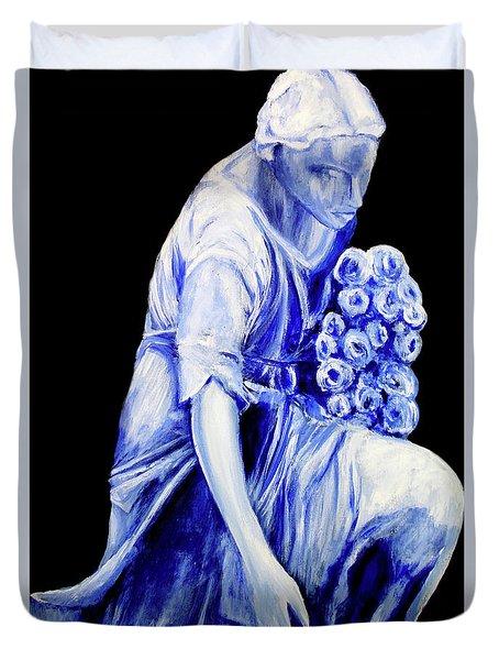 Flower Girl In Blue Duvet Cover