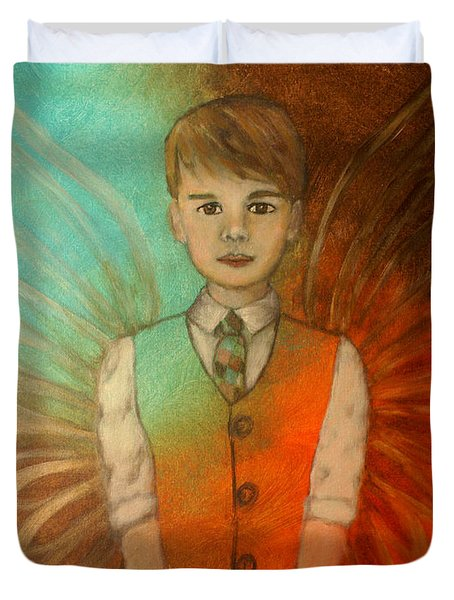 Ethan Little Angel Of Strength And Confidence Duvet Cover by The Art With A Heart By Charlotte Phillips