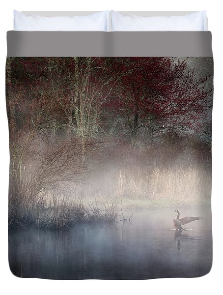 Duvet Cover featuring the photograph Ethereal Goose by Bill Wakeley