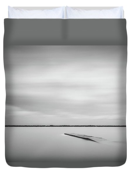 Ethereal Long Exposure Of A Pier In The Lake Duvet Cover