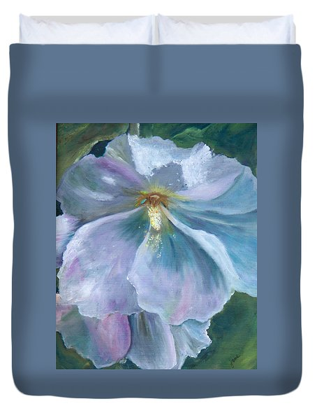 Ethereal White Hollyhock Duvet Cover by Jane Autry