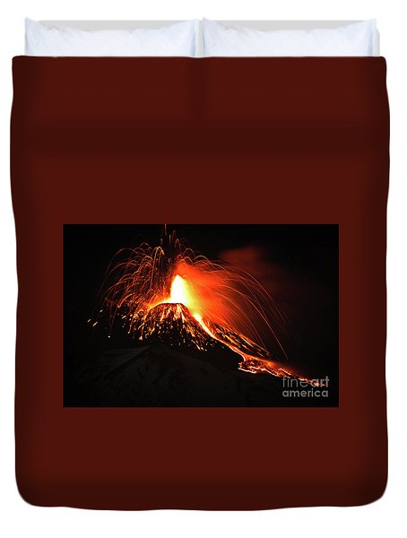 Duvet Cover featuring the pyrography Etna by Bruno Spagnolo