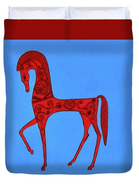 Etruscan Horse #2 Duvet Cover
