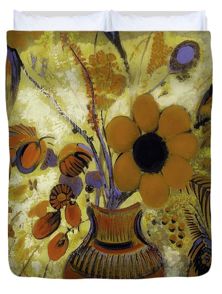 Duvet Cover featuring the painting Etrusian Vase With Flowers by Odilon Redon