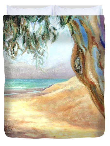 Duvet Cover featuring the painting Eucalyptus Beach Trail by Michael Rock