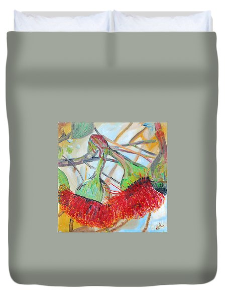 Duvet Cover featuring the painting Eucalyptus Flowers by Reina Resto