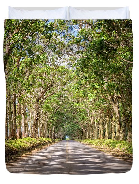 Eucalyptus Tree Tunnel - Kauai Hawaii Duvet Cover by Brian Harig