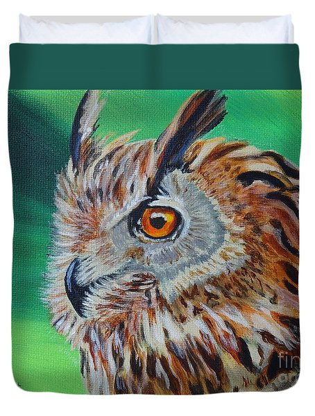 Eurasian Eagle-owl Duvet Cover by Isabel Proffit