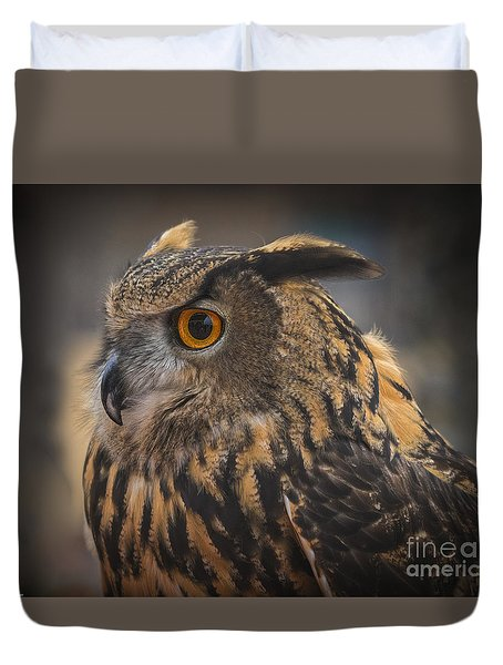 Eurasian Eagle Owl Portrait 2 Duvet Cover by Mitch Shindelbower