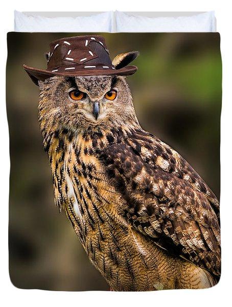 Eurasian Eagle Owl With A Cowboy Hat Duvet Cover