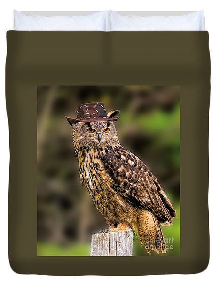 Eurasian Eagle Owl With A Cowboy Hat Duvet Cover