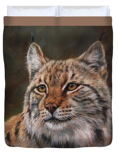 Duvet Cover featuring the painting Eurasian Lynx by David Stribbling