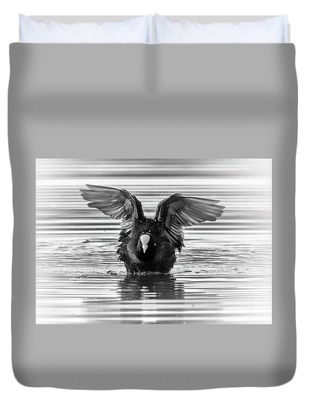 Eurasian Or Common Coot, Fulicula Atra, Duck Duvet Cover