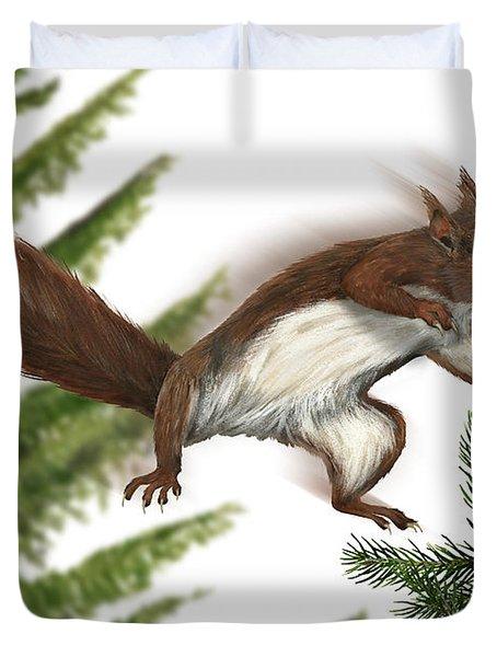 Eurasian Red Squirrel Sciurus Vulgaris - Ecureuil Roux - Ardilla Roja - Eichhoernchen - Eekhoorn Duvet Cover