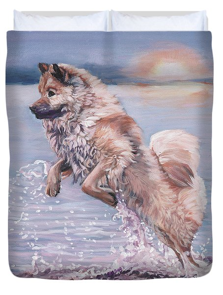 Duvet Cover featuring the painting Eurasier In The Sea by Lee Ann Shepard