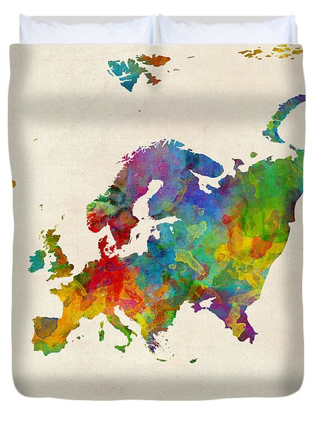Europe Continent Watercolor Map Duvet Cover