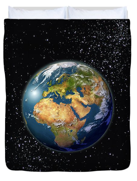 Europe, England, Middle East, North Africa As Seen From Space  Duvet Cover