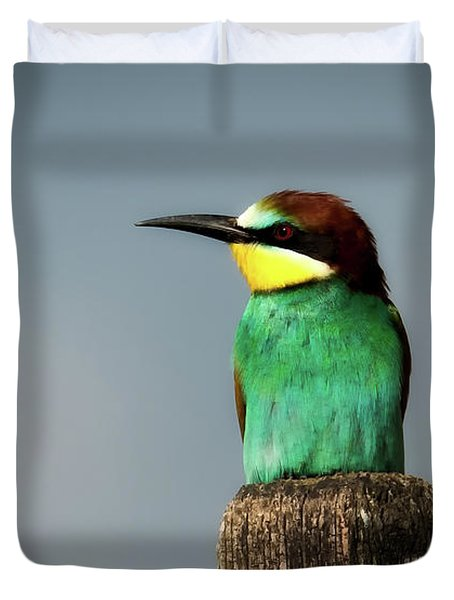 Duvet Cover featuring the photograph European Bee Eater by Wolfgang Vogt
