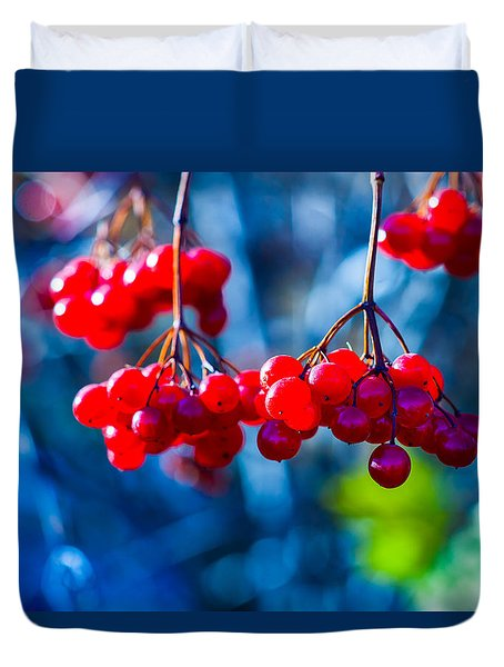 Duvet Cover featuring the photograph European Cranberry Berries by Alexander Senin