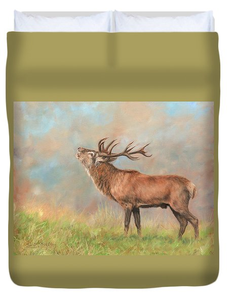 Duvet Cover featuring the painting European Red Deer by David Stribbling