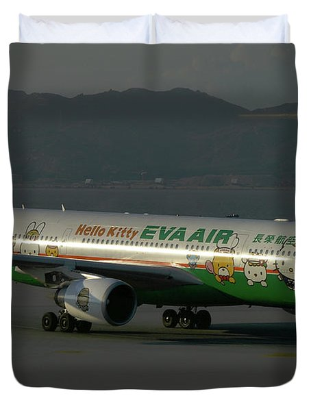 Eva Air Airbus A330-203 Duvet Cover by Tim Beach