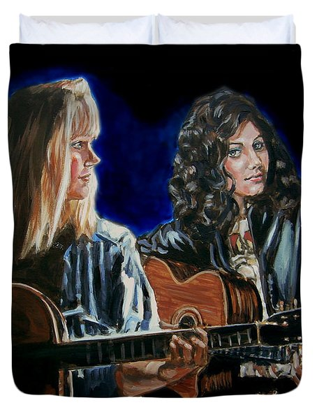 Duvet Cover featuring the painting Eva Cassidy And Katie Melua by Bryan Bustard