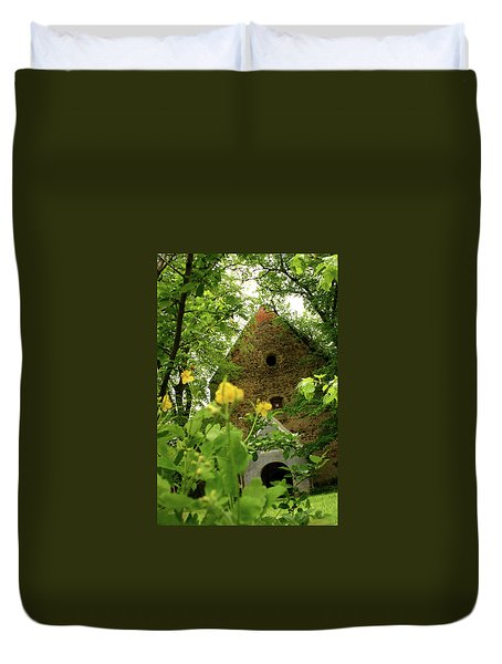 Duvet Cover featuring the photograph Evangelical Stone Chapel In Transylvania by Emanuel Tanjala
