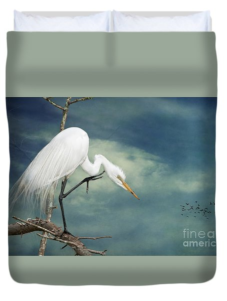 Evangeline Parish Egret Duvet Cover by Bonnie Barry