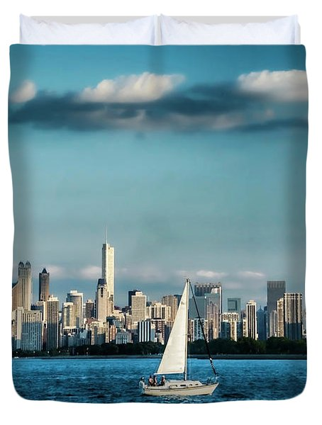 Evan's Chicago Skyline  Duvet Cover