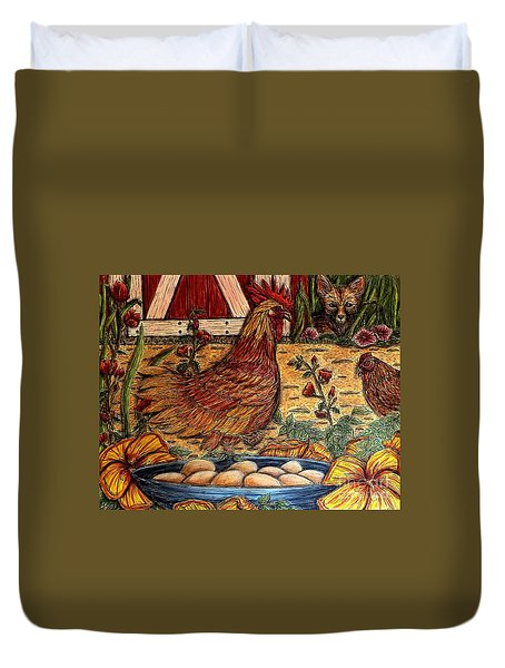 Even Chickens Can Be Heroes Duvet Cover