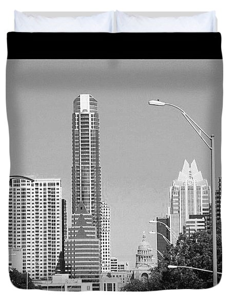 Even In #blackandwhite, The #skyline Of Duvet Cover by Austin Tuxedo Cat