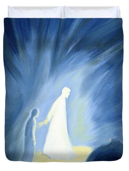 Even In The Darkness Of Out Sufferings Jesus Is Close To Us Duvet Cover by Elizabeth Wang