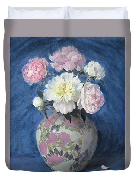 Even Peonies Get The Blues Duvet Cover