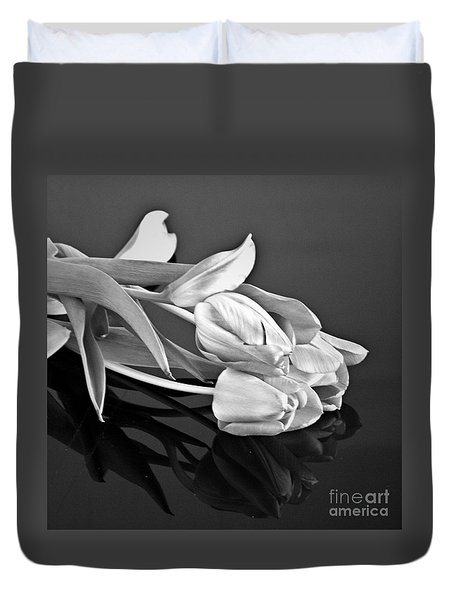 Even Tulips Are Beautiful In Black And White Duvet Cover by Sherry Hallemeier