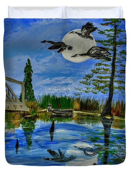 Evening At Acadiana Pond Duvet Cover