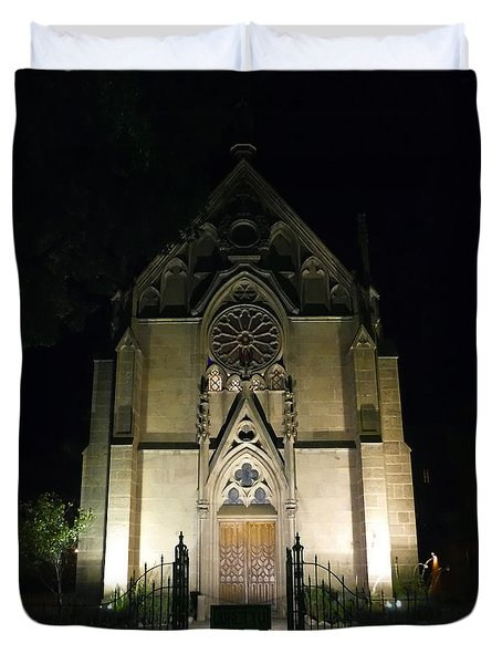 Duvet Cover featuring the photograph Evening At Loretto Chapel Santa Fe by Kurt Van Wagner