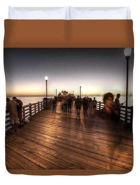 Evening At Oceanside Pier Duvet Cover